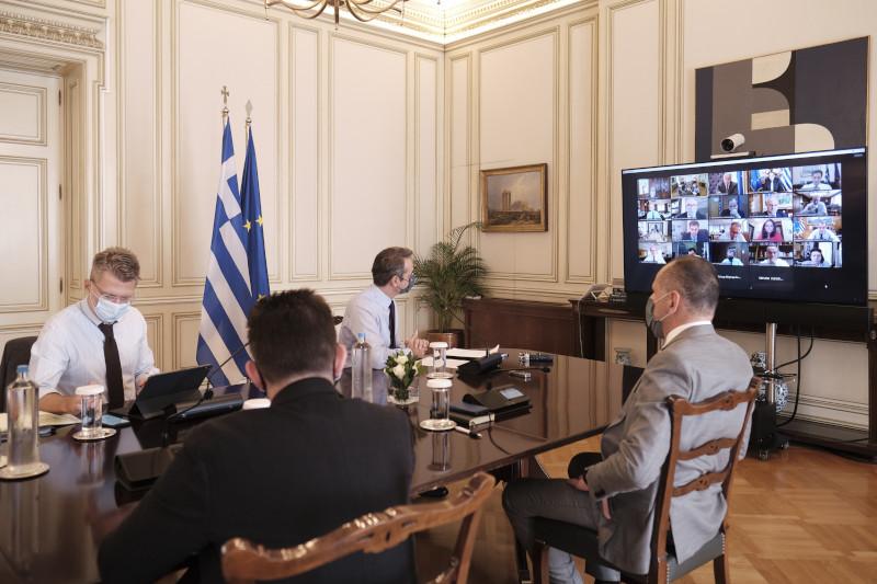 Κυριάκος Μητσοτάκης τηλεδιάσκεψη νέα μέτρα για κορωνοϊό